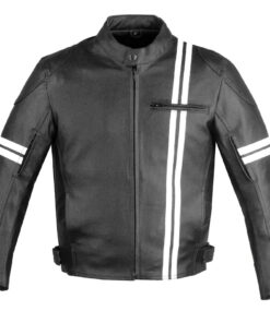 Iron Biker Motorcycle Leather Jacket With Armor Front