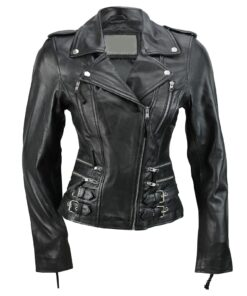 Zip Buckle Biker Leather Jacket For Women Black