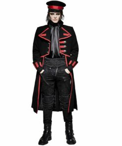 Military Long Coat Jacket Black Red Goth Steampunk Regency Aristoc Front
