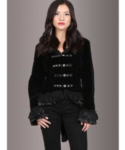 Women Velvet Victorian Steampunk Gothic Dressage Tailcoat Corset Back Jacket Front
