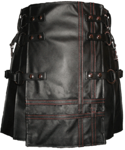 Heavy Leather Kilts For Men Red Stitched Front