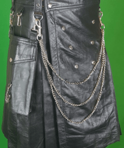 Mens Fashion Leather Kilt