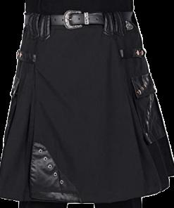 Leather Black Utility Kilt